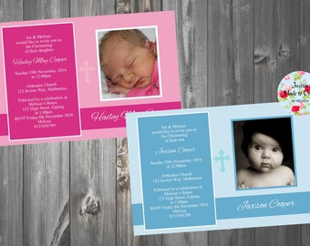 Baby girl boy invite with photo and cross Christening or Baptism Holy Communion