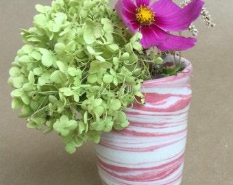 Agateware Pink & White Vase - Porcelain