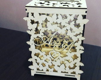 Wedding card box personalized - Wedding box for cards with  butterfly design