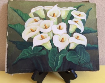 Calla Lilies Vintage Oil Painting