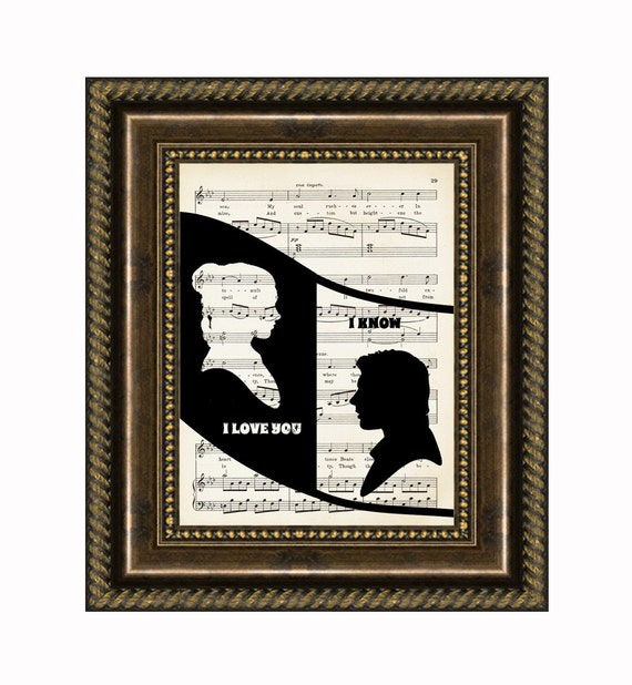 """Han And Leia Silhouette with their memorable words """"I Love You"""" and """"I Know"""", Mixed Media Art, Home Decor Wall Art."""