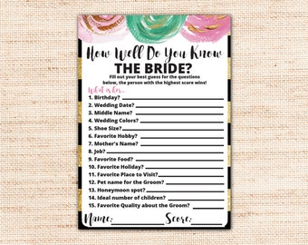 Brunch and bubbly bridal shower invitation template printable gold and black how well do you know the bride printable instant download gold stopboris Gallery