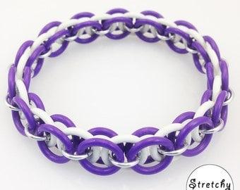 Purple and White Stretchy Bracelet