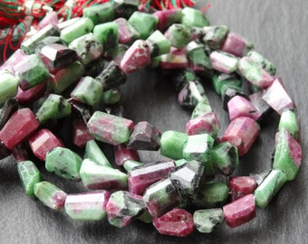Ruby Zoisite cut nuggets, approx 9x12mm, 25cm, 22 beads (2753)