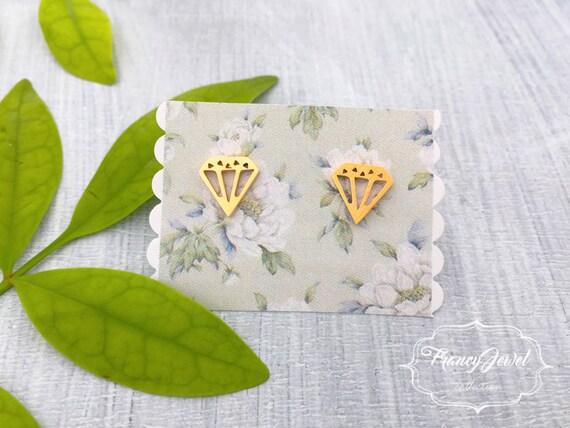 Diamond, geometric earrings, diamond shape earrings, gold diamond, diamond earring, faceted diamond, fashion jewelry, boho