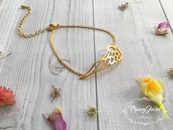 Gold angel bracelet, dainty angel bracelet, angel wing jewelry, memorial bracelet, bridesmaid gift, wedding gift, bridal jewelry, birthday