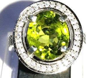 Ravishing Green Peridot Silver Ring 925 Stamp For Woman