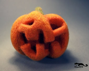 Halloween needle felted pumpkin Harvey