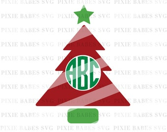 Christmas Monogram SVG, Tree SVG, Christmas svg, Fall svg, Tree Silhouette svg, Monogram svg, Cricut svg, Silhouette svg, svg Cutting Files