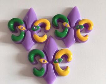 3 Fleur De Lis Colourful purple flatback resin kawaii cabochons decoden. Embellishment hairbow centre charm Mardi gras scrapbooking diy