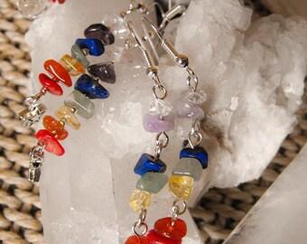 Chakra Stone Gemstone Earrings, Meditation, Reiki, Yoga, Hypoallergenic