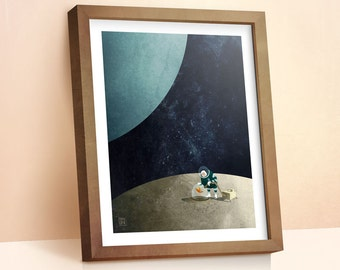 The Space Gardener illustration | Children's Prints | Space Print | Boys Room Decor | Wall Art Prints | Gift For Kids | 8x10 | 11x14