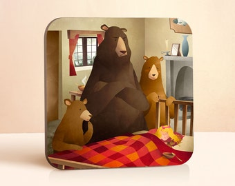 Goldilocks Coaster | Bear Coaster | Bear Art | Fairy Tale | Gift for Him | Gift for Her | Wood Coaster | Animal Coaster | Drink Coaster