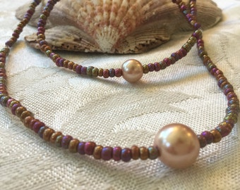 Opaque Beads With Light Pink Pearl