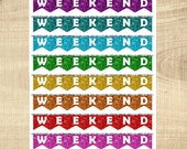 8 Multi-Coloured Glitter Look Weekend Banner Planner Stickers