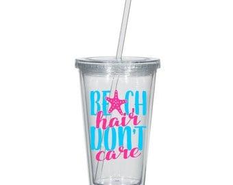 Beach Hair Don't Care Tumbler - Blue