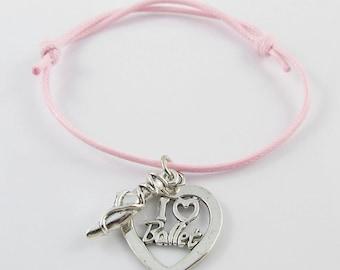 Pink Ballet Shoe & I Love Ballet Heart Bracelet Adjustable Size C040/414/BFS016
