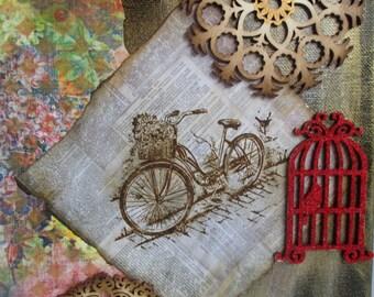 Ride to Freedom Mixed Media Original Canvas Art 9x12