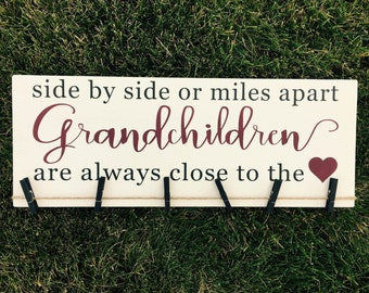 Side By Side or Miles Apart Grandchildren Are Always Close To The Heart Sign/Black/ Burgundy/Grandchildren/Grandparents Gift/Photo Display