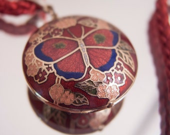 Cloisonne Red Butterfly Pendant on Red Silk Cord Necklace