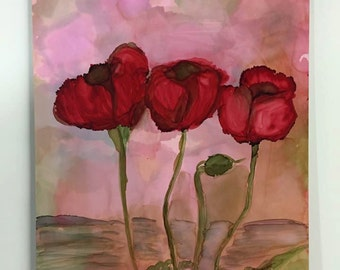 Poppies #5.  Alcohol Ink on Paint Board