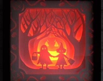Halloween - Shadow Box / Night Light - Handmade