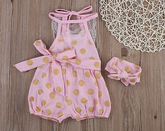 Pink Gold Dot Romper