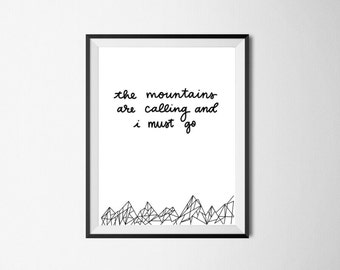 The Mountains are Calling | Printable Art, Home and Room Decor, Digital Download