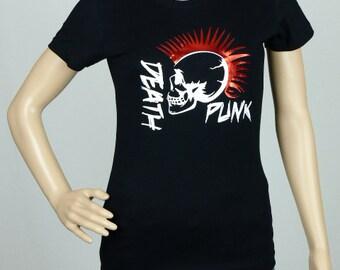 "T-shirt woman black waisted size ""DEATH PUNK"""