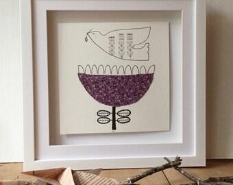 Pen & Ink Limited Edition Print, Violet Snow Flower and Dove Illustration