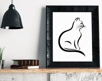 Cat Art Print - Minimalist Art, Cat Print, Cat Drawing, Cat Painting, Cat Illustration, Modern Art, Wall Art, Gifts For Her, Cat Lover Gift