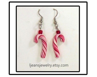 Handmade Christmas Polymer Clay Peppermint Candy Cane Earrings