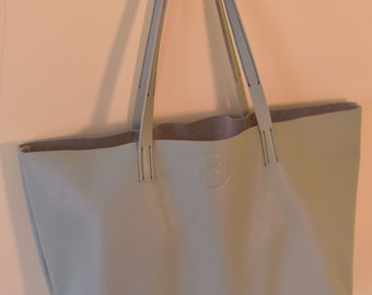 Limited Edition Pastel Mint Leather Tote - Mason Leather