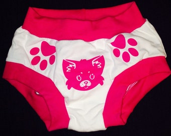 Toddler training pink cat underwear, unisex comfy cotton underwear paws show kids where to hold animal face and tail show back and front.