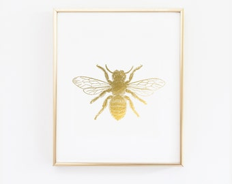bumble bee wall art - Bee gold foil digital print - bumble bee with gold - Nursery print - bee wall art - White and gold decor - SKU0300