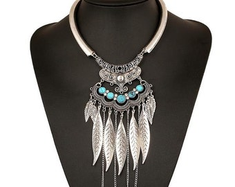 Leaves Tassel collar Necklaces  Rhinestones Vintage Statement Pendants Collares Jewelry