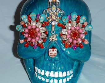 Blue Hand Painted Skull With Amazing Detail