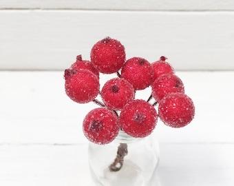 Bunch of 10 Berries, Red Berries, Pip Berry Cluster, Wired Flower, Chrisrtmas Berries, Frost Berries, Red Berry, Wired Berry, Frost Berries.