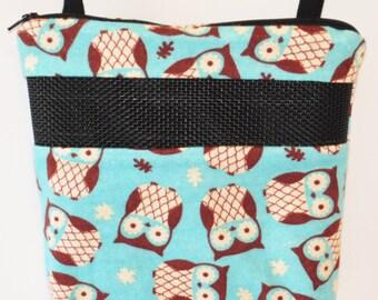 Sugar Glider Bonding Pouch, baby hedgehog bonding bag, small exotic nesting supplies, zipper bag, snuggle sack, Blue Owl Flannel