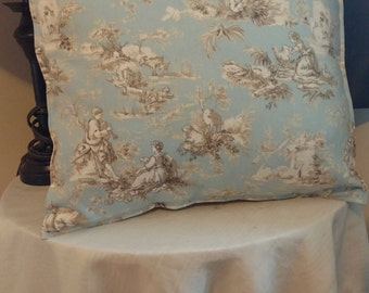 """16"""" x 16"""" Blue and Natural Pillow Cover"""