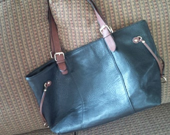 Black and Tan leather tote bag.