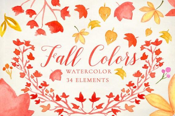 Watercolor Fall Clipart Autumn Wedding clipart Invitation