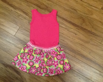 Childs Tshirt dress, pink, 2T/3T, toddler
