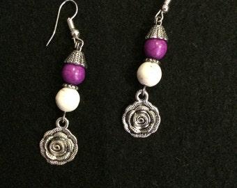 BOHO Earrings: purple and ivory beads with a rose Charm