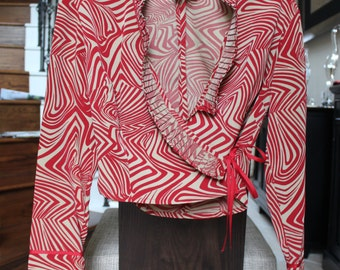 OPENING SALE Forwear Retro Red Print Cropped Jacket Vtg Size 4