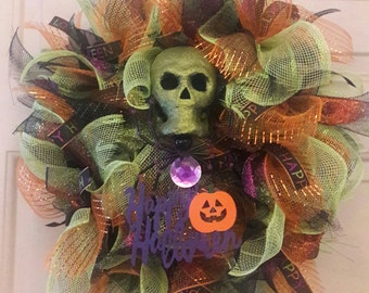 Skull and Spider Deco Mesh Halloween Wreath