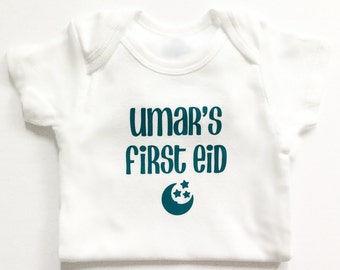 my first Eid bodysuit, personalized, Islamic gift, baby outfit, Eid gift, cute outfit, moon, stars, baby shower, photo shoot, bismillah
