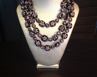 Purple Flowered Necklace