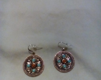 Gold earrings with blue and orange beads