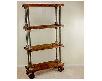 Industrial Shelving | 4-Shelf Bookcase with Wheels | Vintage-Style Shelving | Custom Wood Shelf | Iron Black Pipe Shelving with Casters